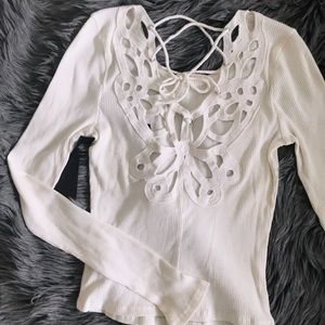 Cream Round Neck Top w Crochet Lace-Up Back Detail